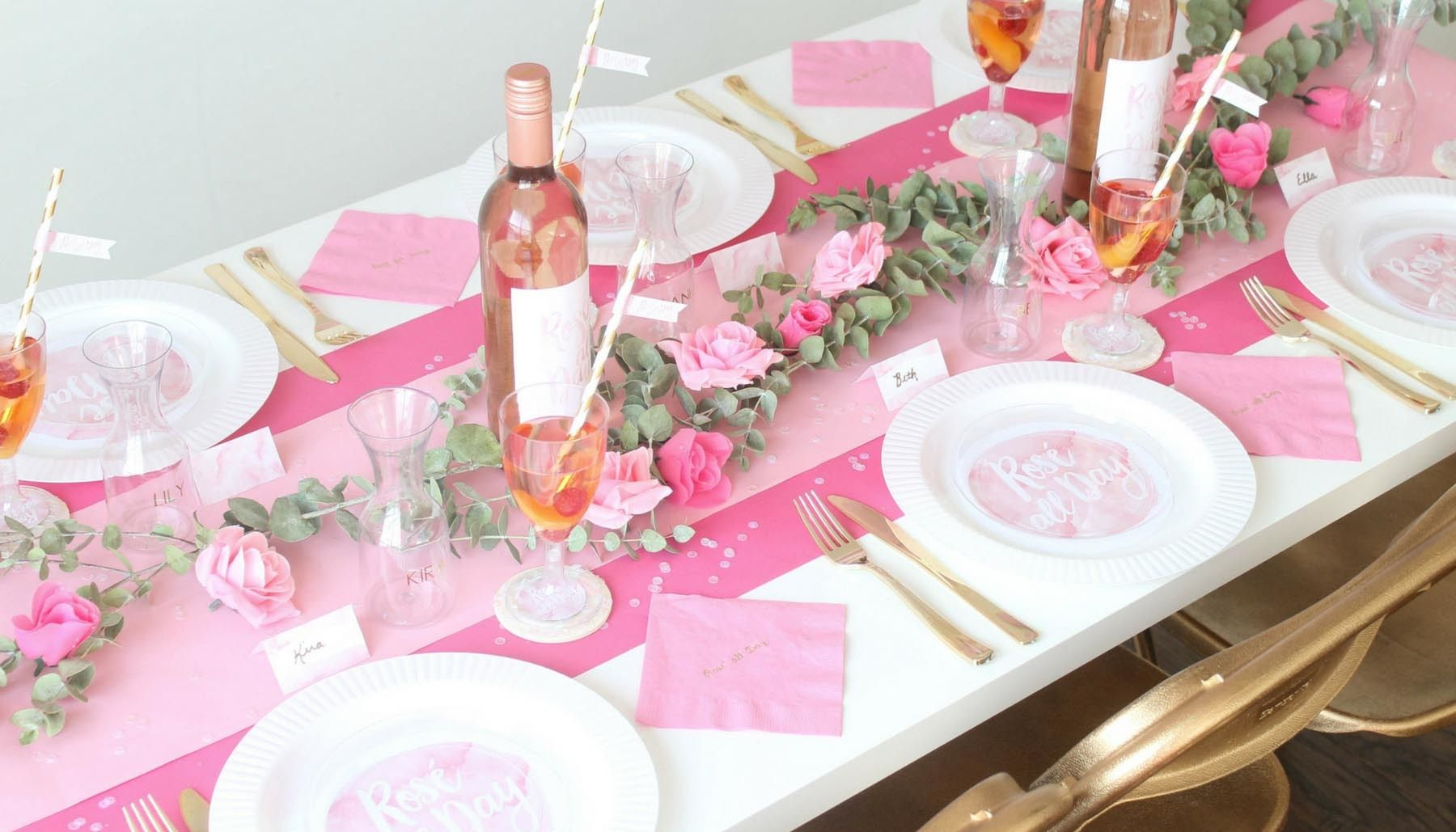 Rose All Day Bridal Shower Table Decor Bridal Shower Tables Rose Party Pink Table Decorations