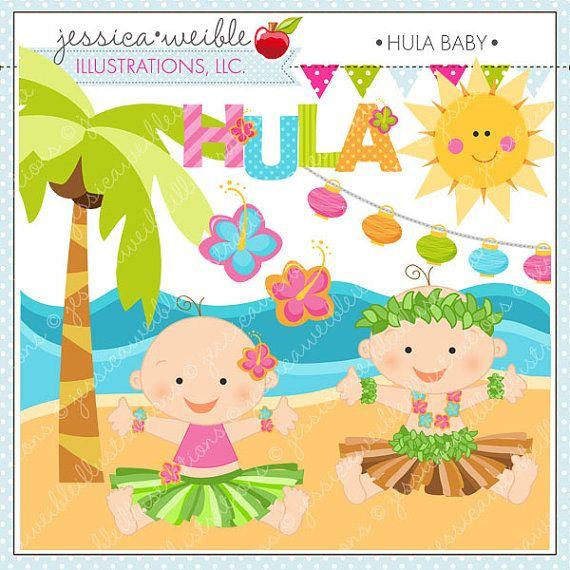 Hula Baby Cute Digital Clipart For Commercial Or Personal Use Etsy Murals Your Way Clip Art Animal Mural