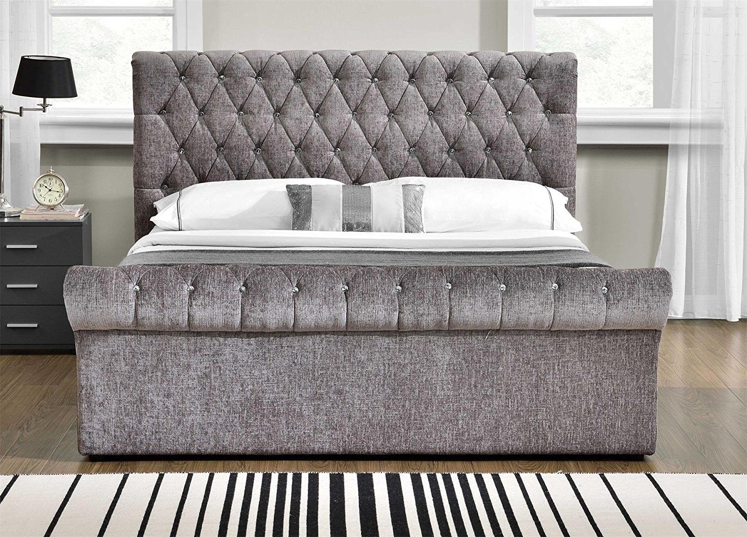 Unmatchable Velvet Chenille Ottoman Storage Fabric Bed Frame Double Or King Size Bedroom New Chenille Ottoman Bed Upholstered Bed Frame Bed Frame With Storage
