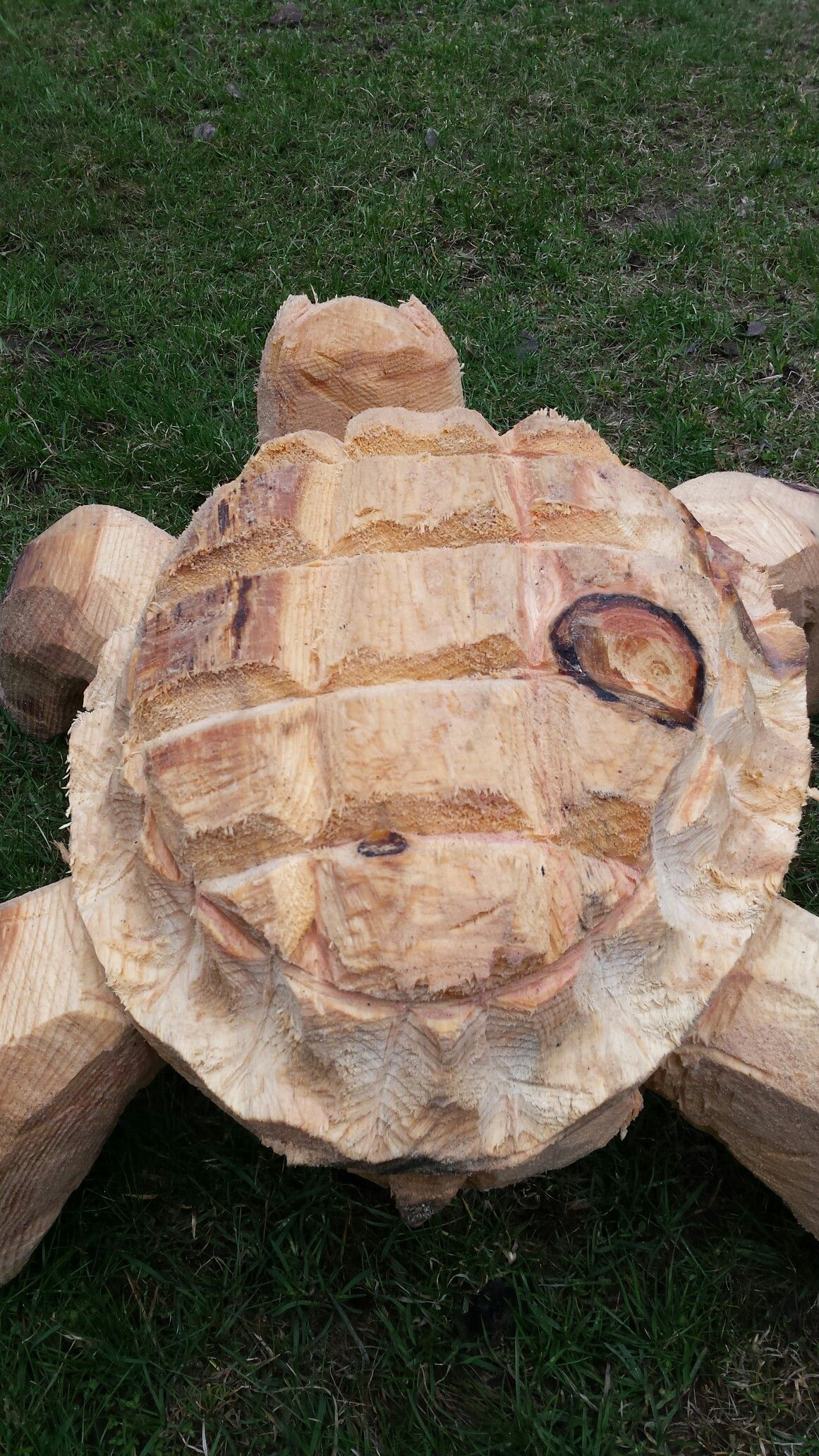 Chainsaw Carved Turtle Carvell Saw Creations On Facebook Chainsaw Wood Carving Chainsaw Carving Wooden Sculpture