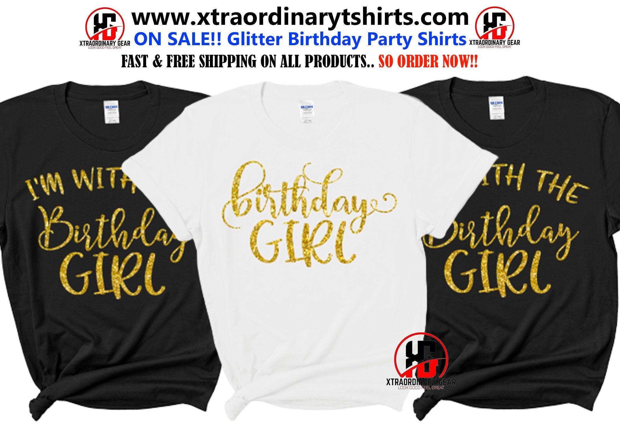 Best sale glitter birthday crew shirts birthday squad