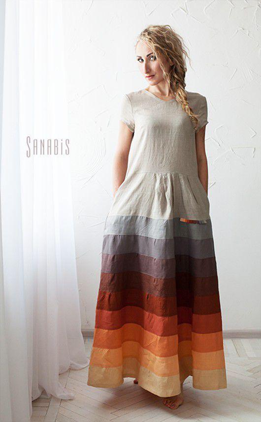 7e1ca426c61 Платья ручной работы. Ярмарка Мастеров - ручная работа. Купить Льняное  платье «Мехенди». Handmade. Серый