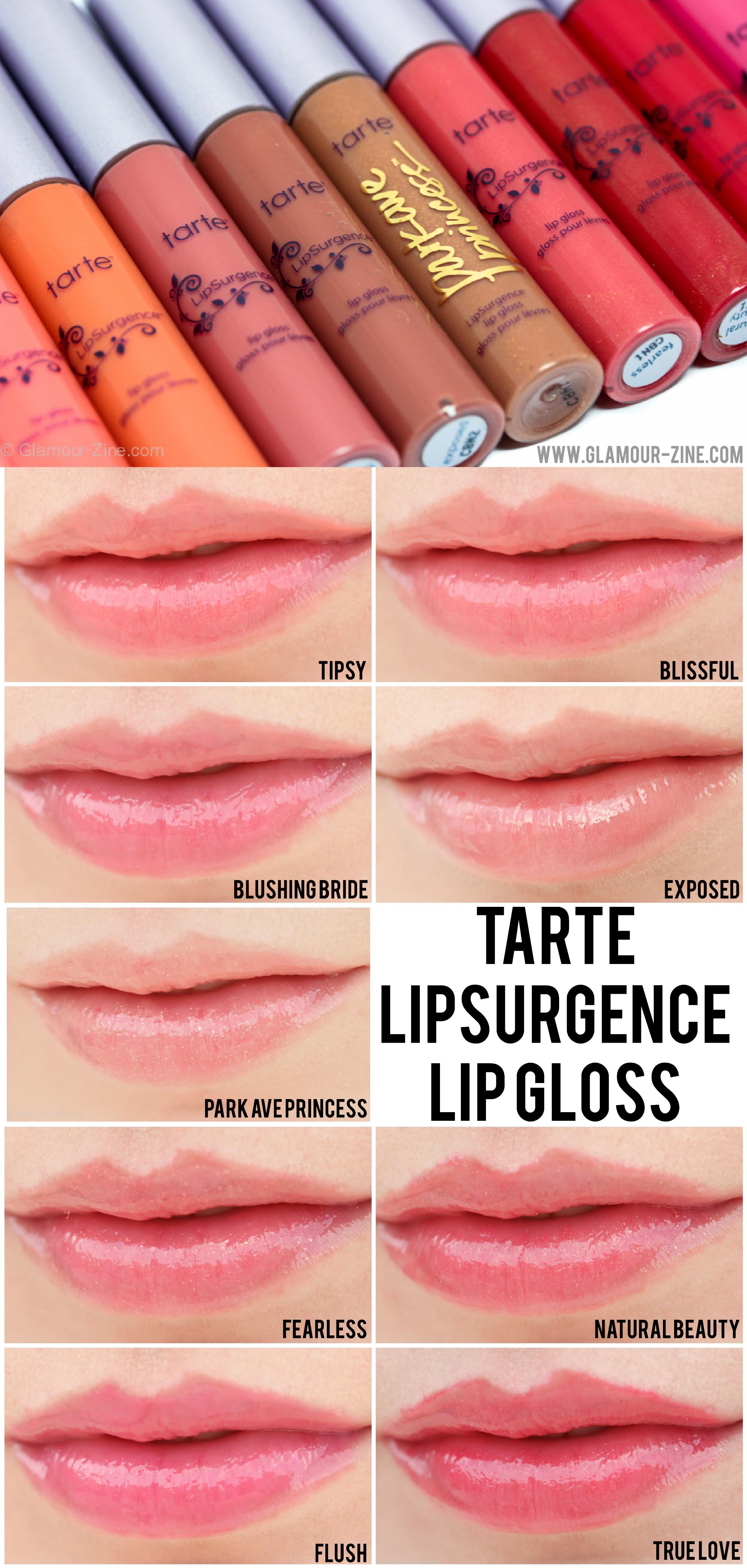 Tarte Creative Marketing Cosmetics Lipsurgence Lip Gloss Review Photos And Swatches Via Holly Richer Zine Tarte Cosmetics Skin Makeup Makeup Swatches
