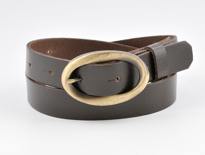 Chocolate brown leather belt, brass swirl buckle from onceuponabelt.com