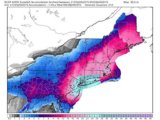 """A """"potentially historic"""" and """"crippling"""" blizzard is set to pound the Northeast Monday with possibly up to 30 inches of snow, the National Weather Service said."""