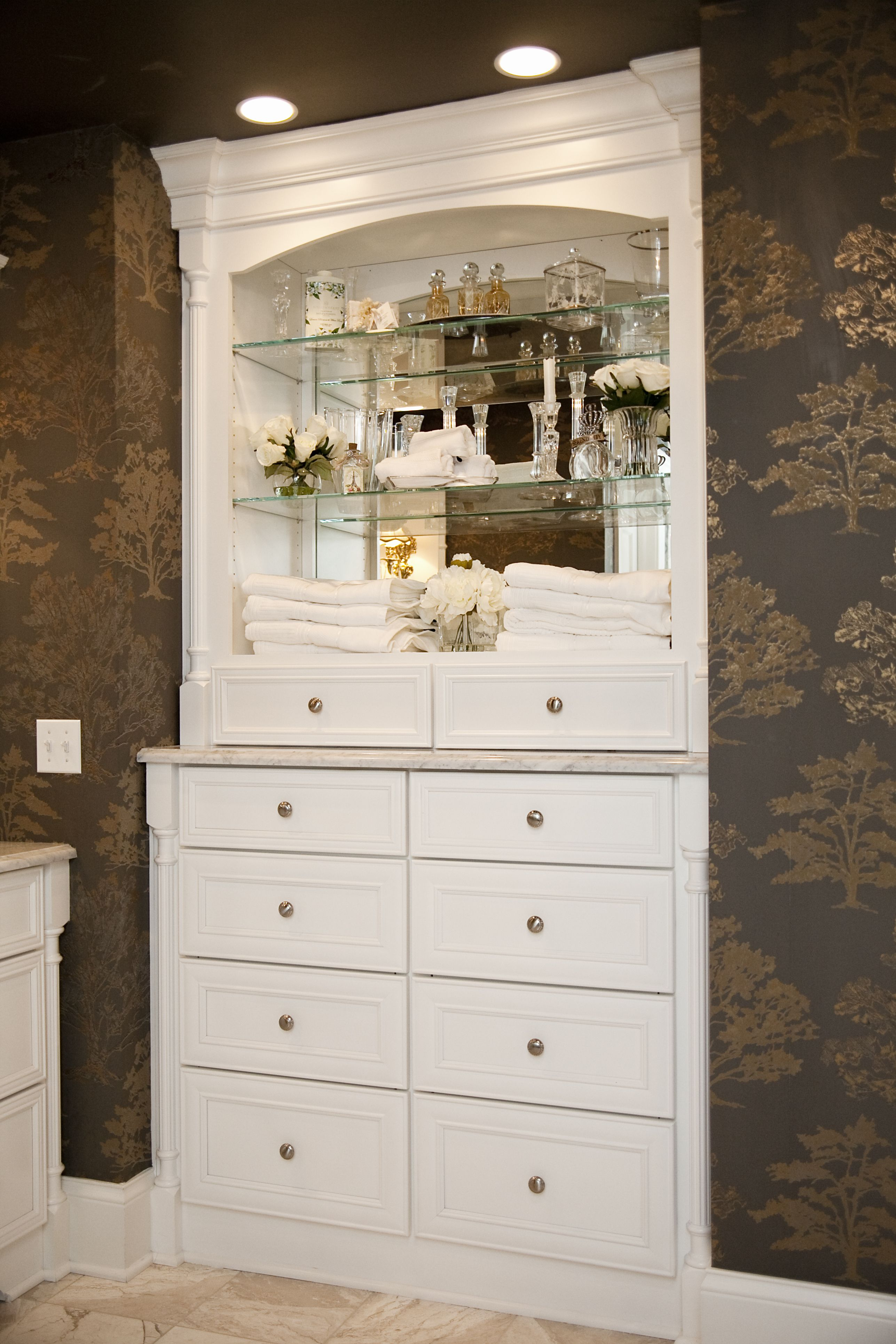 Bath Masters Naperville naperville elegance. bathroom hutch and storage shelves. painted