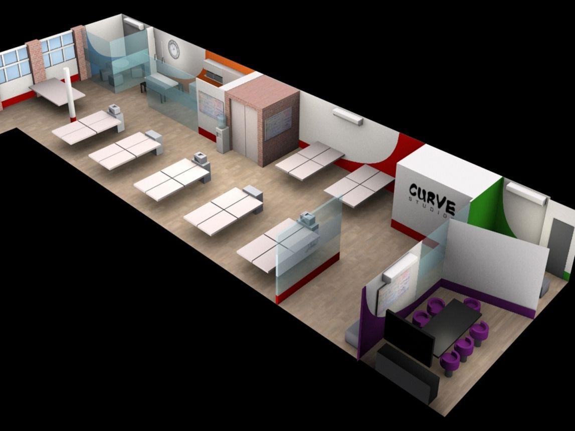 3d office design. curve studios proposed office layout,kova
