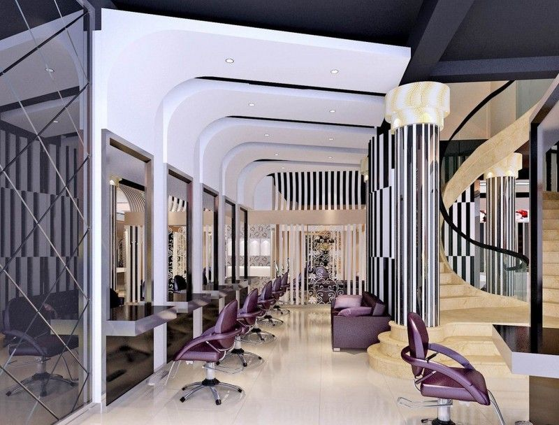 Decorating Best Hair Salon Interior Design In The World With Staircase And Purple Color Schemes