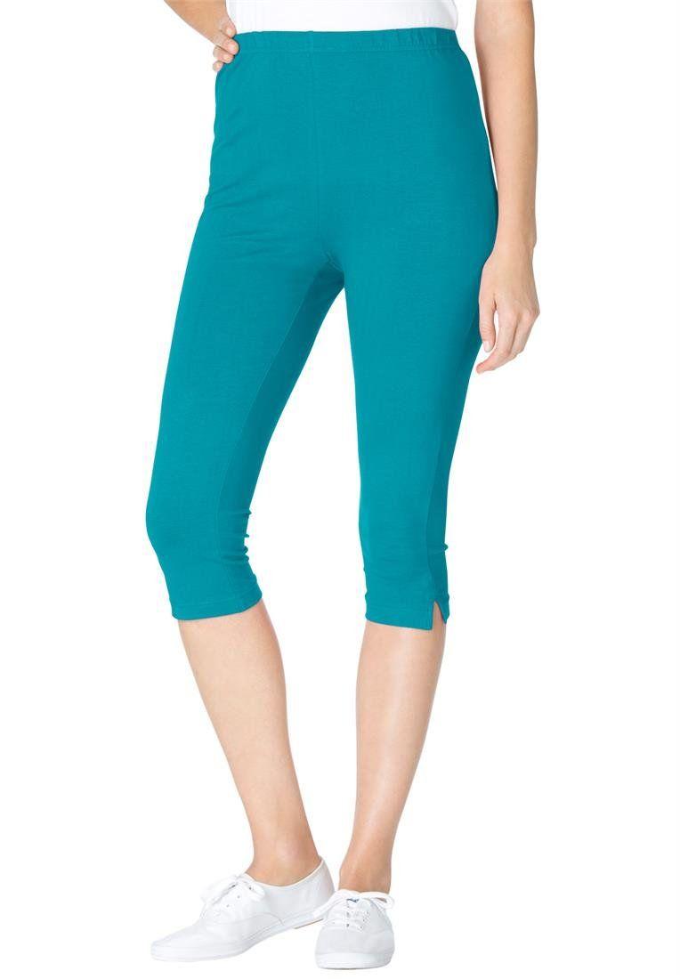 23564001532f7 Woman Within Women's Plus Size Capri Length Stretch Knit Leggings at Amazon Women's  Clothing store: Leggings Pants