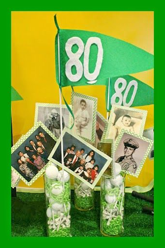 RE-invented style: Golfer Dad's 80th Bday Party  photograph centerpieces with golf balls, tees, green paper and flags made of felt