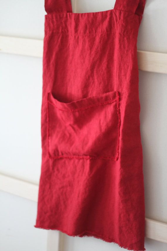 Heavy Linen Square-Cross Apron/Pinafore/No-ties by LostinLinen