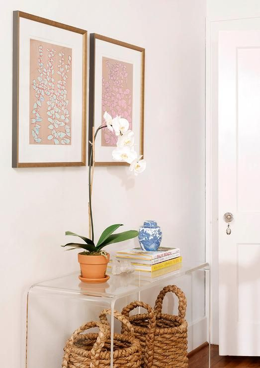chic foyer features pair baskets tucked clear acrylic console table with shelf ikea cheap