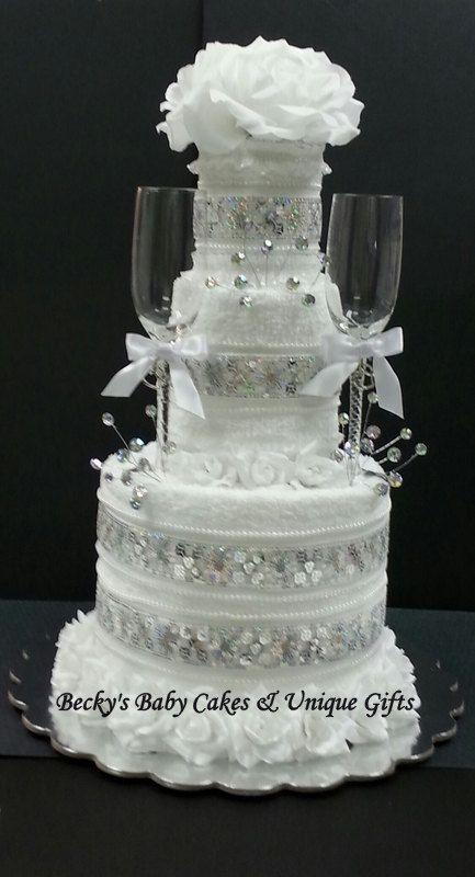 wedding towel cake glitz towel cakebridal gift wedding centerpiece bridal shower gift bridal centerpiece