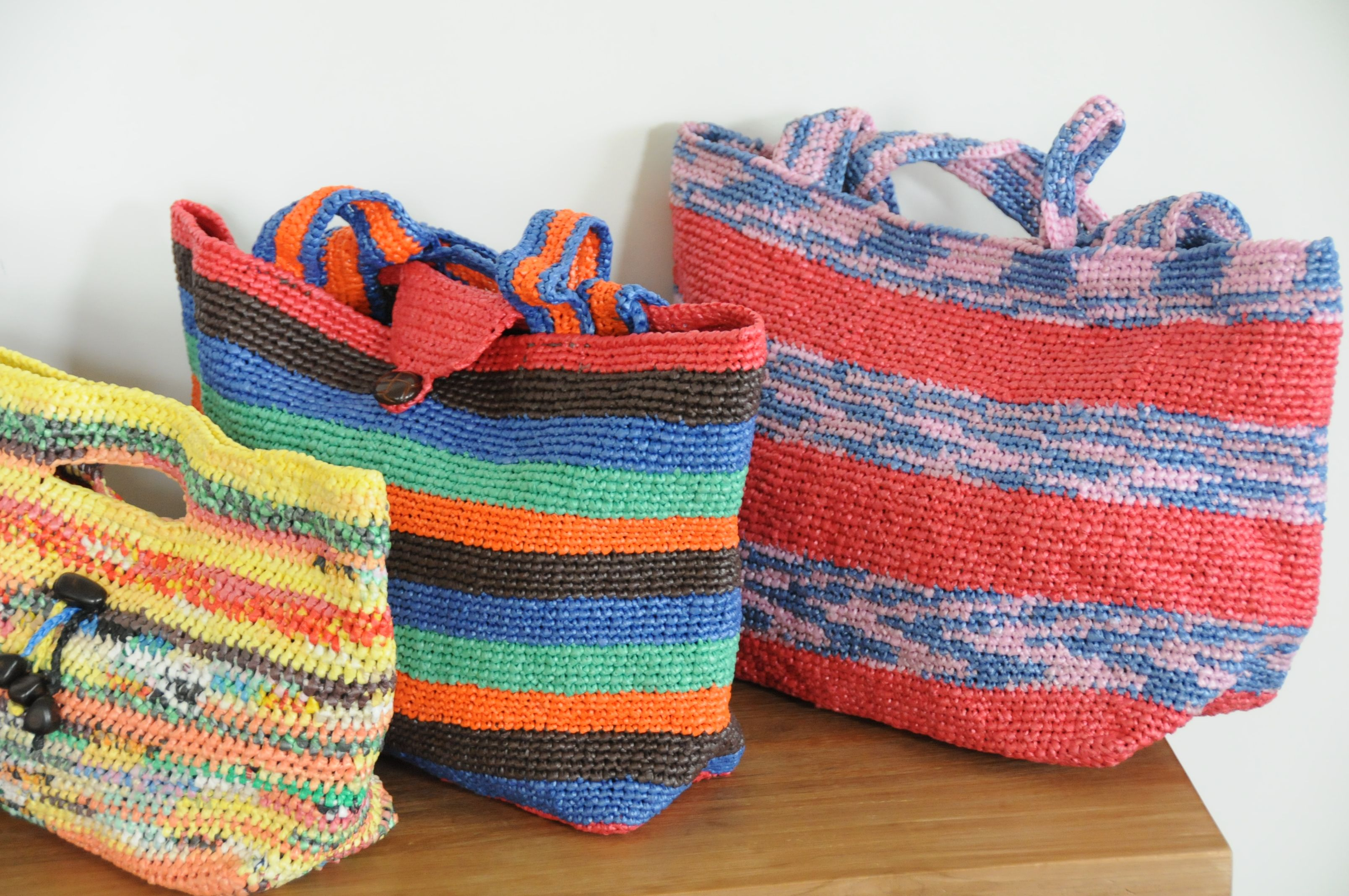 A Great Recycled Plastic Bag Crochet Project Recycled Plastic Bags Plastic Bag Crochet Plastic Bag Crafts