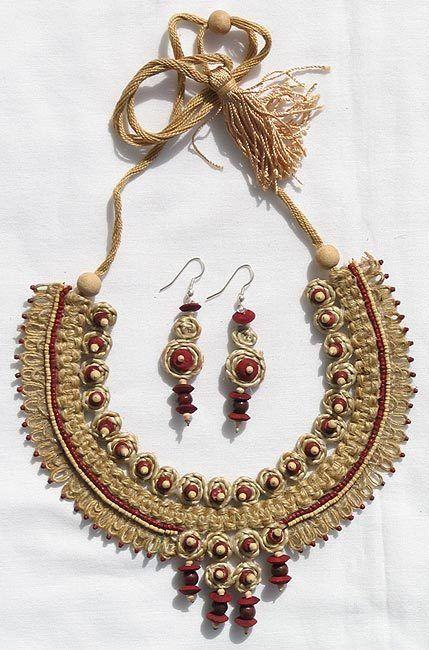 Jute Jewelry Set   Fabric jewelry, Handmade fashion jewelry, Embroidery  jewelry