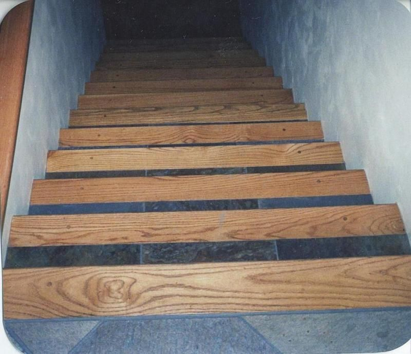 Wood Stair Treads Tile Inlay Kendall S Custom Wood Floors Inc | Oak Wood Stair Treads | Hardwood Lumber | Risers | Hardwood Flooring | Solid Oak | Return