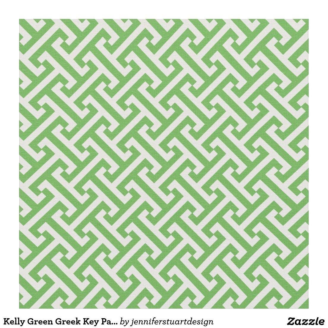Kelly Green Greek Key Pattern Fabric