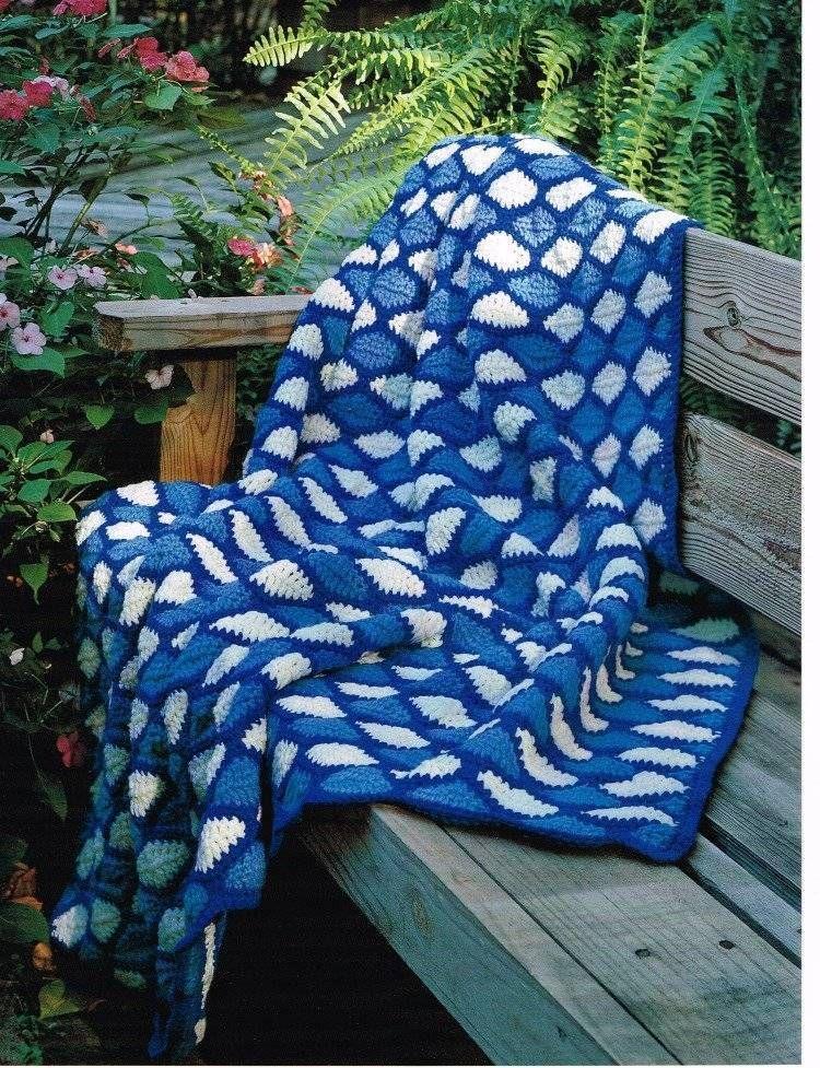 Ocean Waves Afghan Crochet Pattern Blanket Throw Instructions