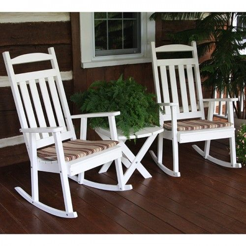 Au0026L Furniture Co. Classic Recycled White Plastic Outdoor Rocker   890