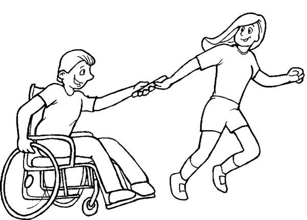 Helping boy with disability on wheelchair coloring page for Helping coloring pages