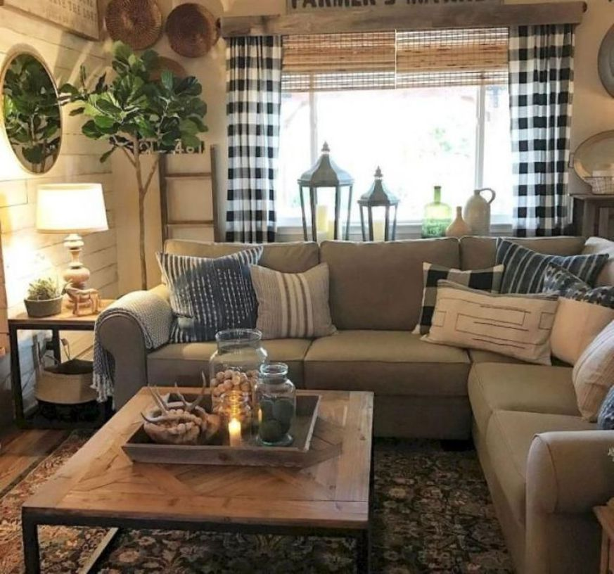 10 Modern Farmhouse Living Room Ideas: 46 Inspiring Rustic Home Decor Living Room Ideas