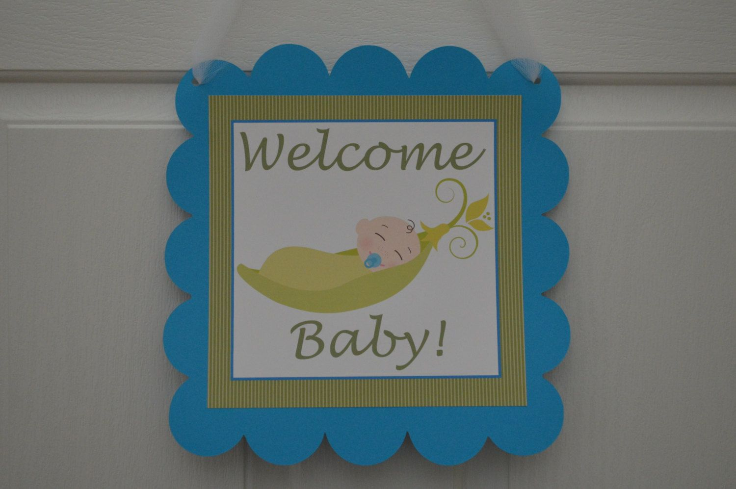 Pea In A Pod Welcome Baby Door Sign  Baby by SweetEPaperBoutique, $10.00