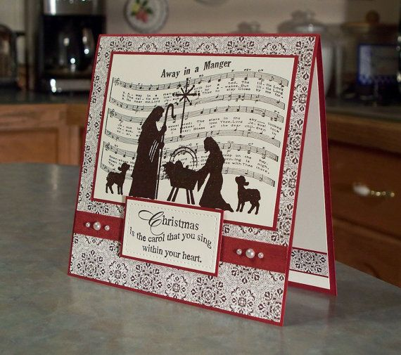 Handmade Religious Christmas Card Embossed by ...