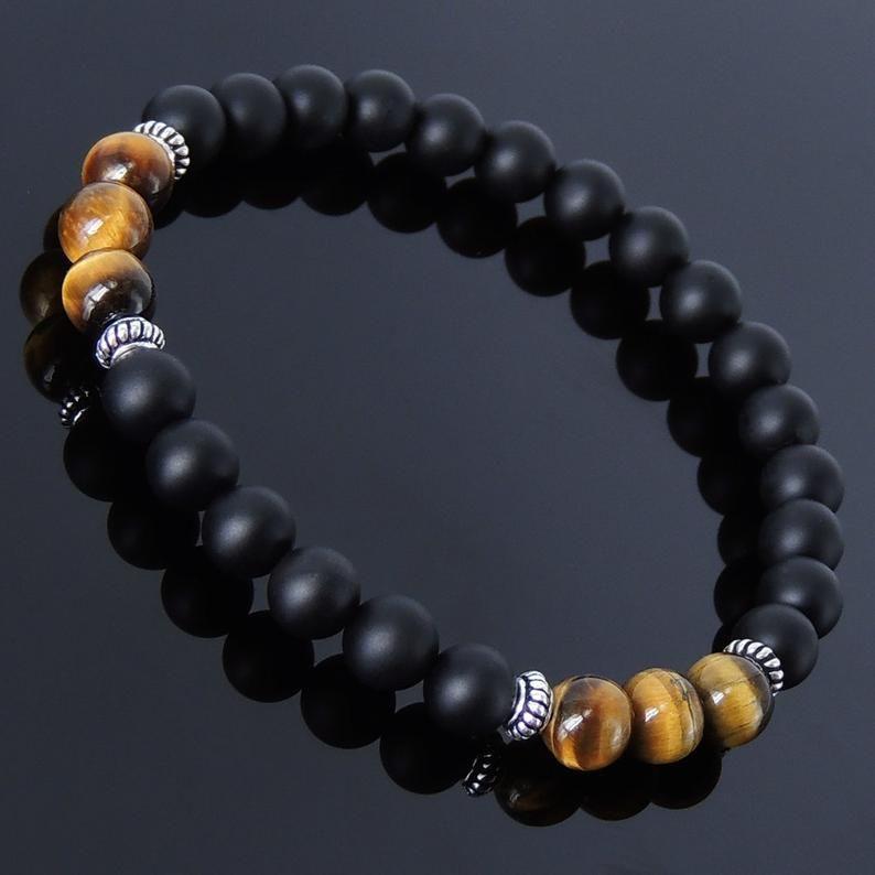 Men Women Gemstone Bracelet Black Obsidian Tiger Eye Sterling Silver Buddha Bead