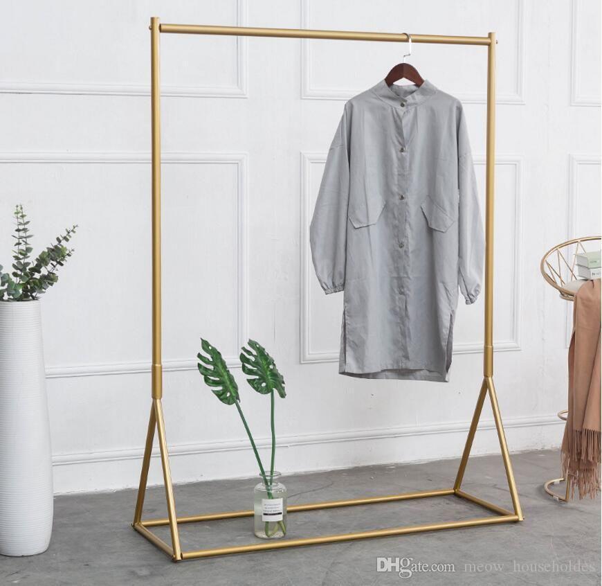 2019 Golden Clothing Rack Iron Floor Hanger Children S Cloth Shop Clothing Display Racks Women S Cl Clothing Rack Display Clothing Store Displays Clothing Rack