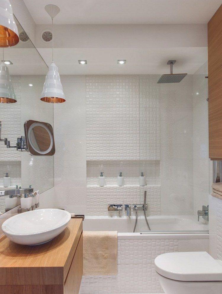 Bad Einrichten 3d kleines bad in weiß und holztönen 3d wandfliesen home