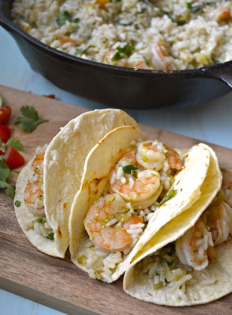 20 minute ONE skillet Cilantro Lime Shrimp and Rice #glutenfree #healthyrecipe www.maebells.com