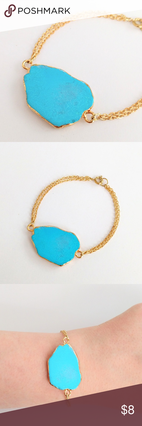 "Gold-plated genuine turquoise howlite bracelet True beauty in simplicity!  A gold-plated natural howlite stone takes center stage in a bracelet you'll reach for again and again!  Ideal for a subtle statement on its own or stacked with other bracelets!  The vivid blue tones are exquisite...like diving into a summer sky!  Nickel and lead free; about 7.5"" long.  PRICE IS FIRM and extremely reasonable, but click ""add to bundle"" to save 10% on your purchase of 2+ items! Jewelry Bracelets"