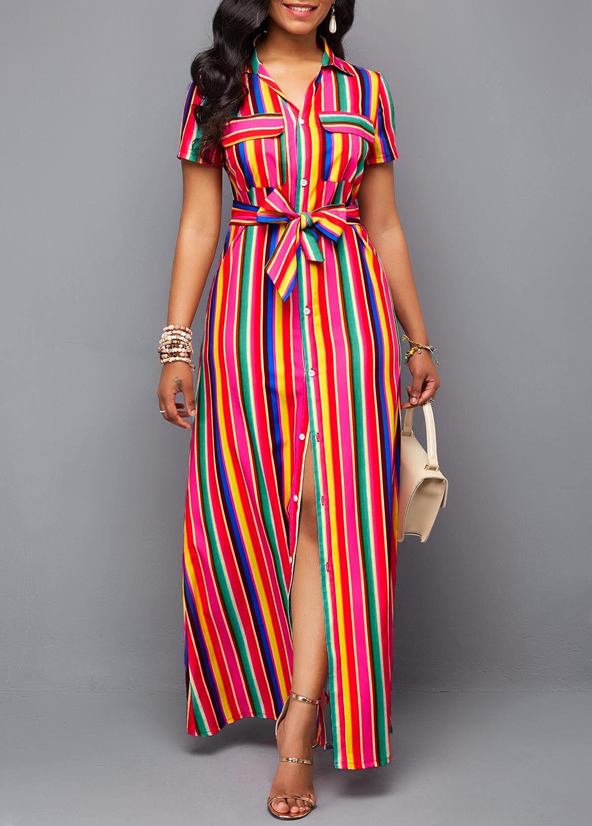 Belted Turndown Collar Button Up Rainbow Color Dress Rosewe Com Usd 38 73 Maxi Shirt Dress Shop Casual Dresses Button Up Maxi Dress [ 1674 x 1200 Pixel ]