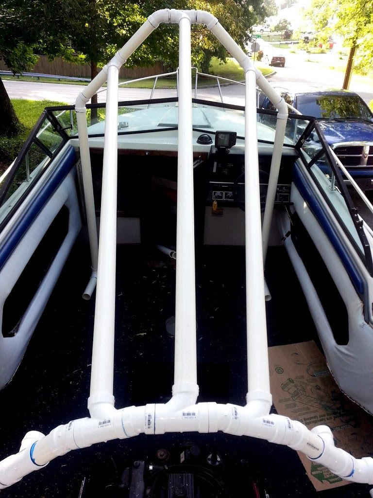 My Pvc Based Boat Cover Frame Support Build Iboats Boating Forums Boat Covers Pontoon Boat Boat Cover Support