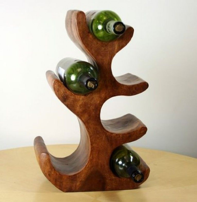 6 bottle dark solid wood wine holder wine holder wood