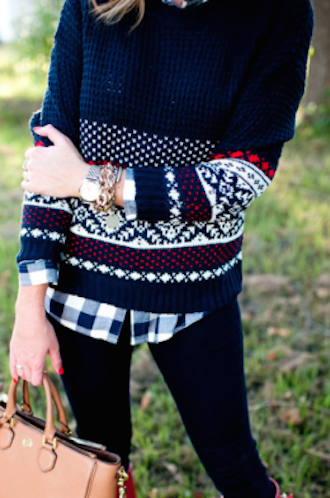 cute navy waffle knit fairisle sweater http://rstyle.me/n ...