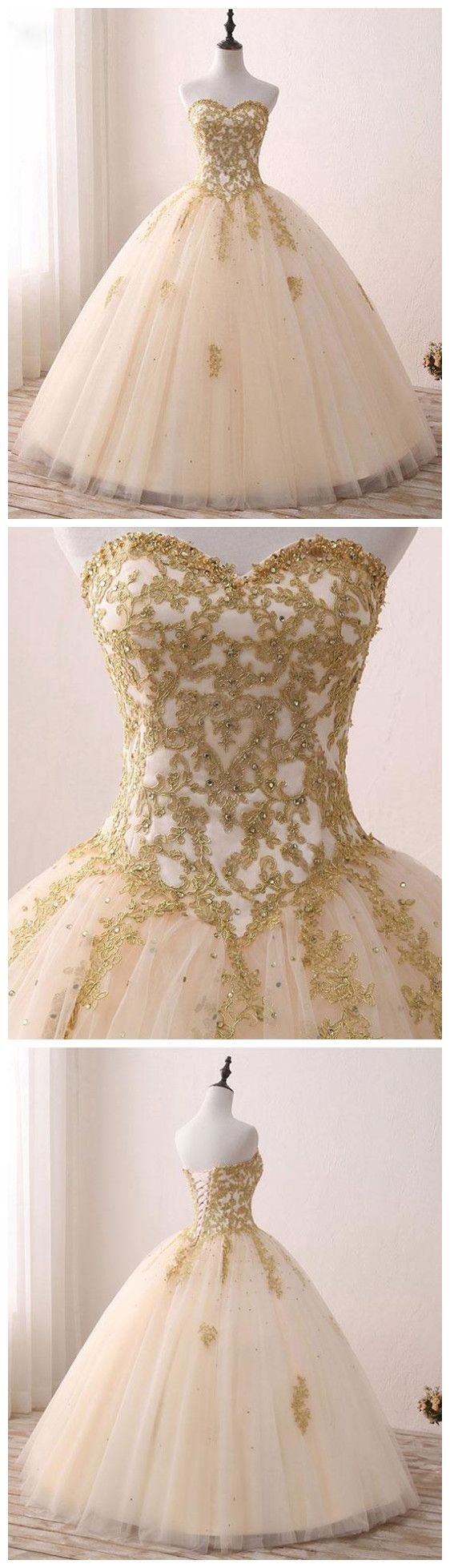 A line ball gowns sweetheart gold prom dress evening dress sky