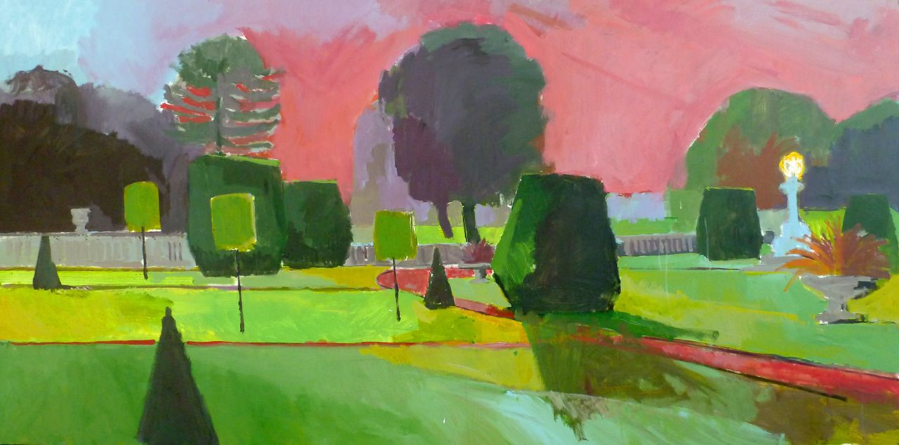 group-eight:Late summers day at Somerleyton.Acrylic on board. 6 x 3ft. Sept 2014 Fred Ingrams www.fredingrams.com
