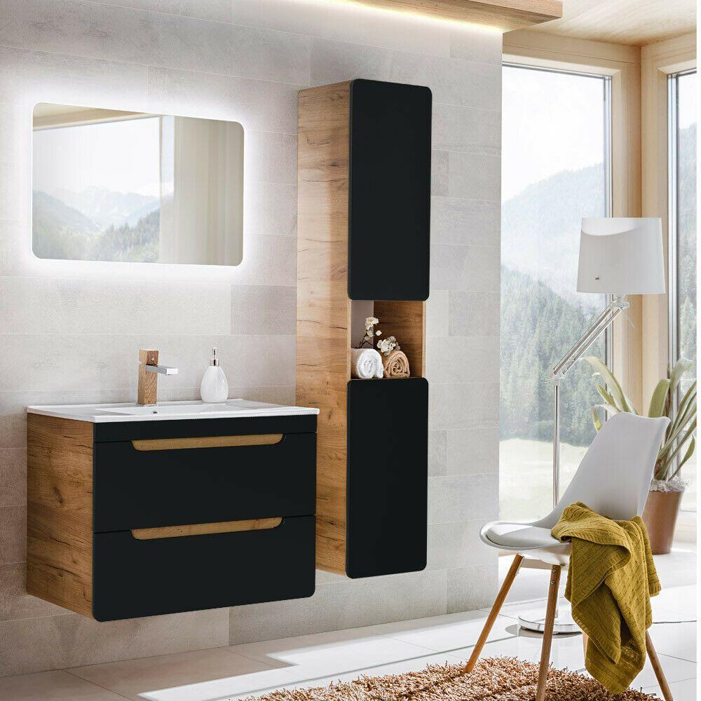 Badezimmer Badmobel Komplettset Anthrazit 80cm Waschtisch Led Spiegel Badschrank Vanity Bathroom Mirror Bathroom Vanity
