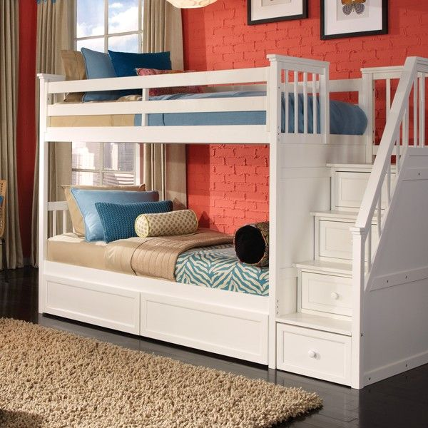 Georgetown Twin Over Twin Bunk Bed W Stairs In White Yatak