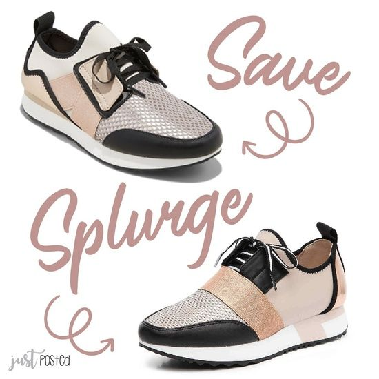 61a6bf35e0d Save vs. Splurge on these black and rose gold sneakers! The save is ...