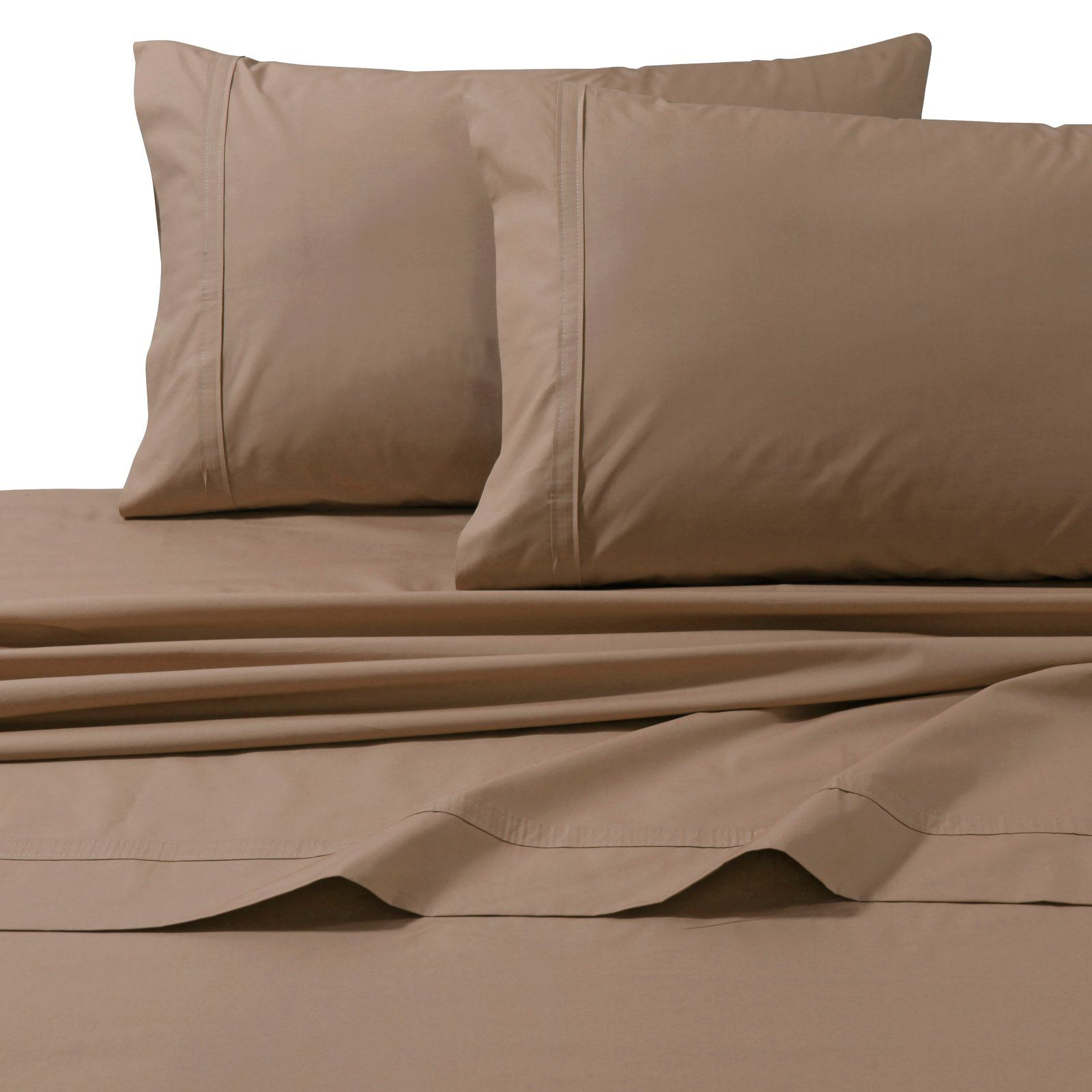 Tribeca Living 300 Tc Egyptian Cotton Percale 4 Piece Sheet Set Coffee