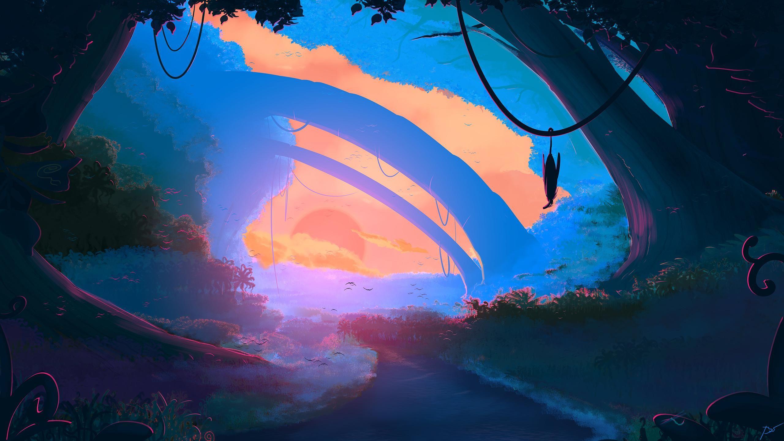 Prehistoric 2560x1440 Colorful Landscape Landscape Wallpaper Wallpaper