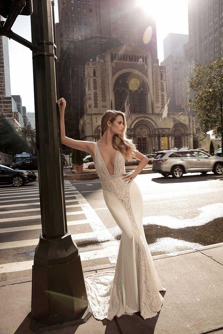 Plunging neckline wedding dress | itakeyou.co.uk #weddingdress #weddingdresses #bridalgown #weddinggown