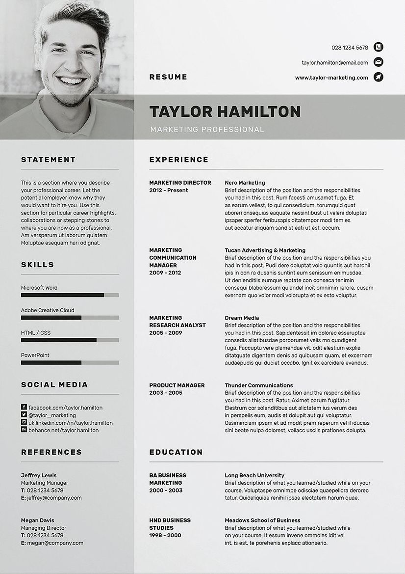 Resume Cv Taylor Free Resume Template Download Resume Template Professional Creative Resume Template Free