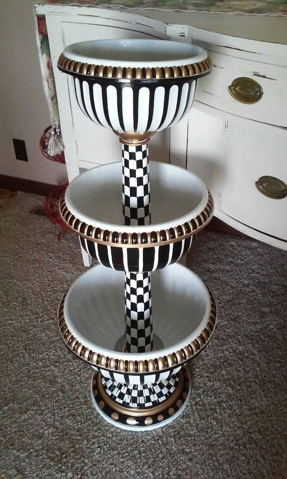 39 Tall Hand Painted 3 Tiered Planter Black And White Check Inspired By Mackenzie Childs