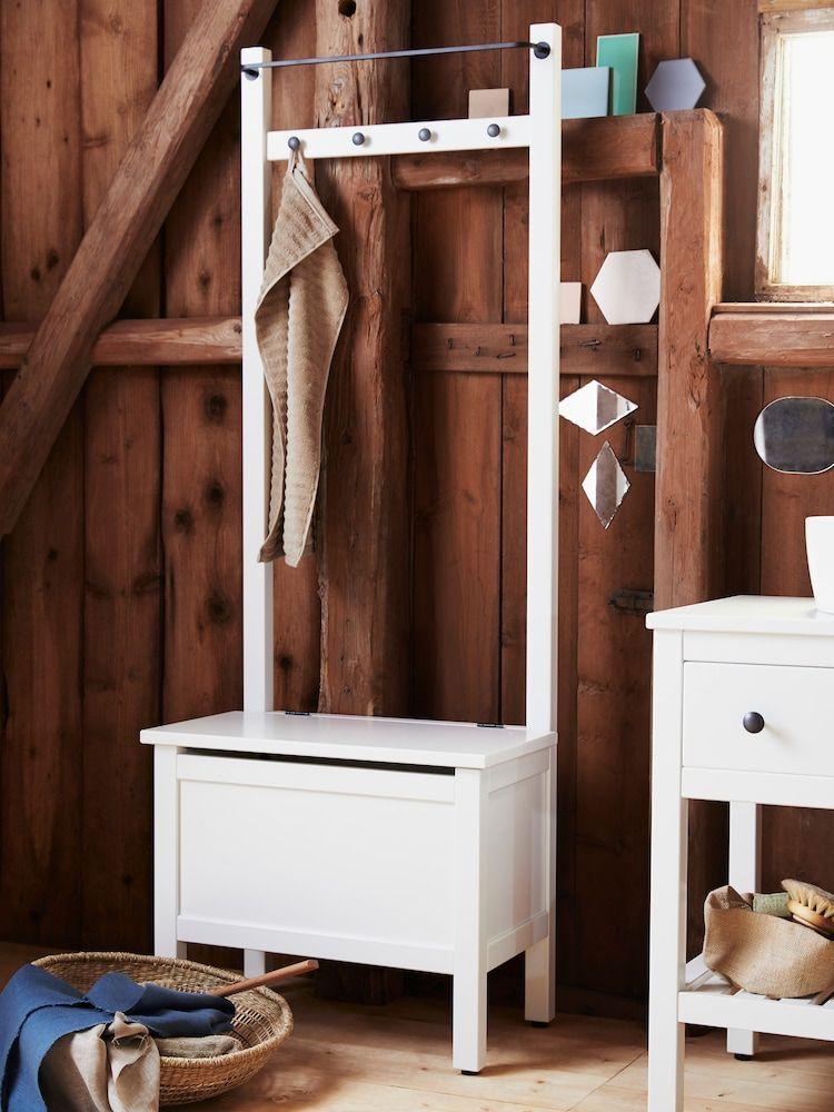 Hemnes Storage Bench W Towel Rail 4 Hooks White 25 1 4x14 5 8x68 1 8 Ikea Bathroom Furniture Bathroom Furniture Design Furniture