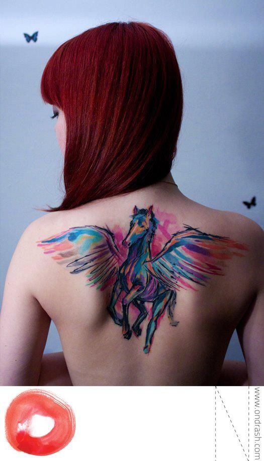 Water Color Looking Tattoos Are Really Pretty Wow Watercolor Tattoo Cool Tattoos Pegasus Tattoo