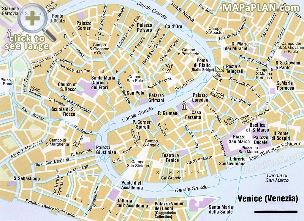 VENICE Map With Tourist Sights Italy Italia ツ Pinterest - Venice map image