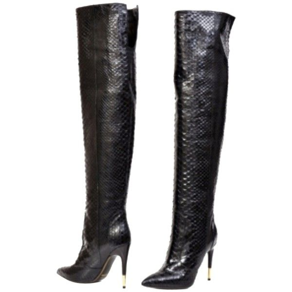 5a703483 Pre-owned Tom Ford Anaconda Over The Knee Blac Boots ($1,775 ...
